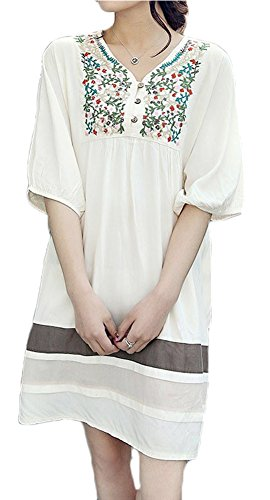 ABS-WO® Women's Maternity Dresses Blouses Colorful Vine Shirts One Size White