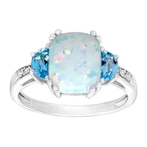 Natural White Opal Ring (1 1/5 ct Created Opal and Natural Swiss Blue Topaz Ring with Diamonds in Sterling Silver Size 8)