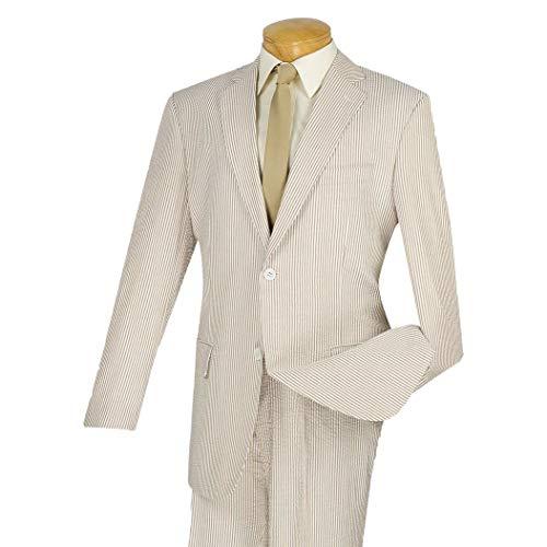 (VINCI Men's Striped Seersucker 2 Button Classic-Fit Suit 100% Cotton Tan | Size: 52 Long / 47 Waist)