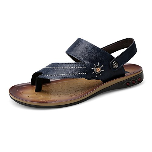 Backless Slip Navy Resistant Men's Color Abrasion Slippers Non Soft Sandals Sunny Toe 8MUS Beach Ring Faux Flat Leather amp;Baby Navy Adjustable Size 45Uqwza6