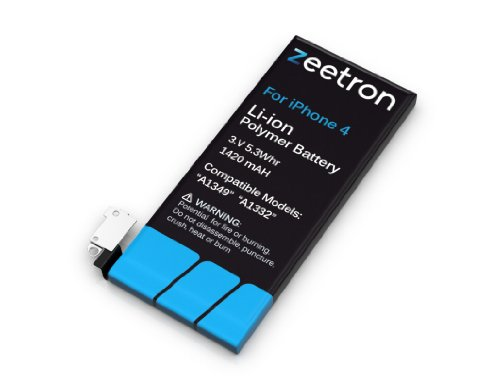 Zeetron iPhone 4 Replacement Battery Kit (Includes 7 Piece Opening Tool Kit + Torx + Screen Protector + Zeetron Microfiber Cloth)