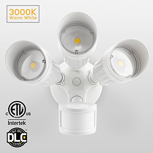 30W 3-Head Motion Activated LED Outdoor Security Light, Photo Sensor, 3 Modes, 150W Halogen Equivalent, 3000K Warm White, 2300lm Floodlight, for Entryways, Patios, Decks, Stairs, White