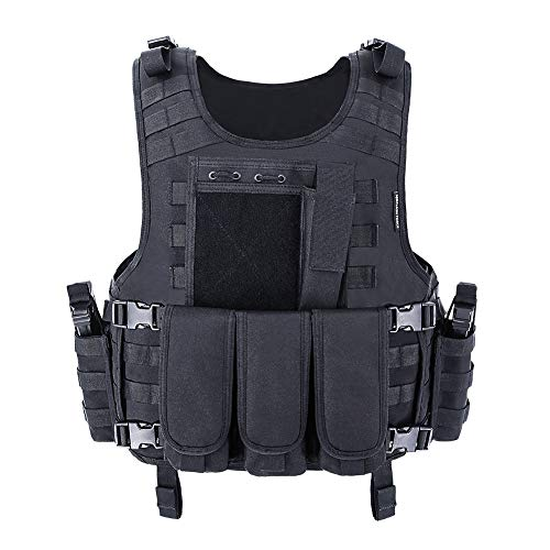 MGFLASHFORCE Tactical Airsoft Vest, Adjustable Molle Combat Paintball CS Game Vest