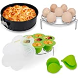 HOTPOP 5-Piece Accessories set for Instant Pot 5,6,8 Qt - Egg Steamer Rack, Non-stick Springform Pan, Silicone Egg Bites Mold and a Pair of Silicone oven Mitts.