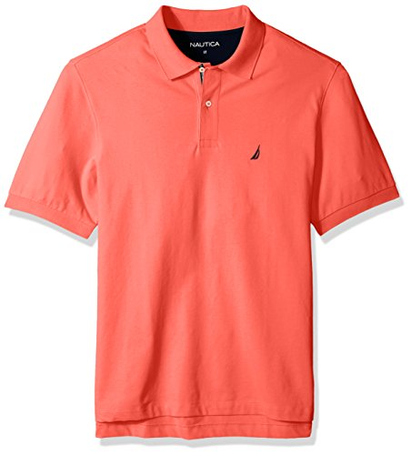 Nautica Men's Big and Tall Classic Short Sleeve Solid Polo Shirt, Dreamy Coral, 2XLT -