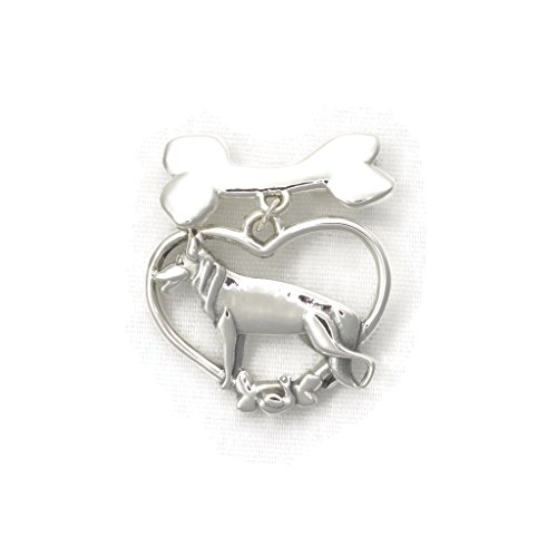 Sterling Silver German Shepherd Brooch, Silver German Shepherd Pin with Bone fr Donna Pizarro's Animal Whimsey Collection of Silver German Shepherd Jewelry by Donna Pizarro Designs
