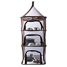 Drying Rack Net, 4 Tier Folding Camping Hanging Mesh Dish Dryer, Foods and Linen Storage Organizer Net Repels Insects
