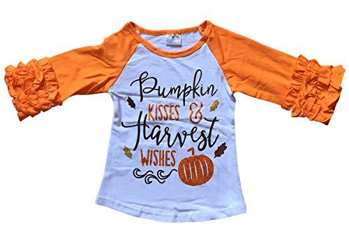 Little Girl Kids Halloween Pumpkin Kisses Wishes Shirt Top Tee T-Shirt White Orange 3T S -