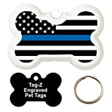 BLUE LINE FLAG - CUSTOMIZED - PET TAG - BONE