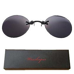 b0e4acc3c241 WEARKAPER Retro Round Clip On Nose Matrix Movie rimless sunglasses men  (Black, Black)