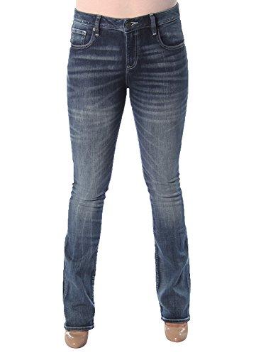 Miss Me Women's Embellished Cross Pocket Boot Cut Denim Jean, Medium Blue, 28 by Miss Me (Image #1)