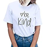 TIFENNY Women's be Kind Letter Print Short Sleeve T-Shirt Summer Solid Color Round Neck Tops Blouse Tee White