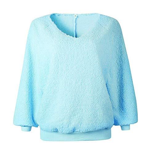 Chandail Pour Bleu coloré Sleeve Plus Solide Beige La À Mode Velours Manches Dames Blouse Longues V Fuxitoggo Taille Femmes Large neck Tops Lantern wBTnPHqqa