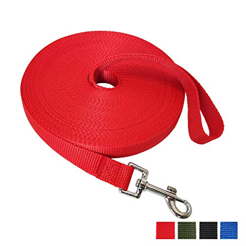 (Nylon Training Dog Leash for Small Medium Large Dogs, 15ft 20ft 30ft 50ft Long Leash Dog/Puppy Lead for Obedience Recall Training, Camping (50ft, Red))