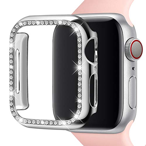 Leotop Compatible with Apple Watch Case 40mm 44mm, PC Plated Hard Bumper with Bling Diamonds Crystal Shiny Glitter Cover Frame Compatible iWatch Series 4 for Women (Silver, 44mm) ()