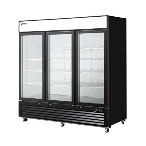 Vortex Refrigeration Commercial 3 Glass Door Merchandiser Freezer - Black - 72 Cu. - Cooler Commercial 3 Door