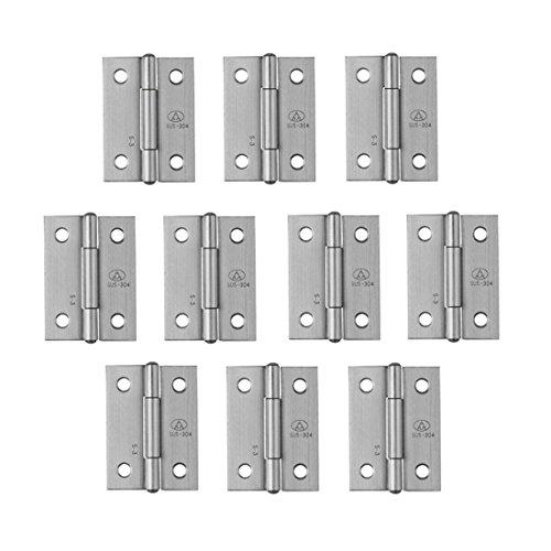 Adiyer [10 Pack] 304 Stainless Steel Butt Hinges for Cabinet Cupboard Jewelry Box (38mm x 30.5mm x 1mm) -