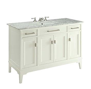 49u201d Modern Style Orson Bathroom Sink Vanity W/ Carrara Marble Top Soft  Close