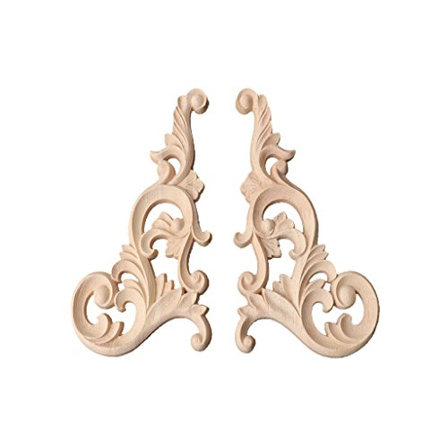 yersty 1 Pair Wood Carved Corner Onlay Applique Frame Decor Furniture Unpainted Home (Dark Wood Carved)