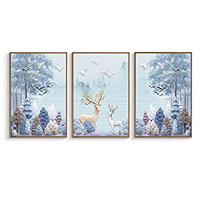 Gold And Silver Stags - 3 Panel Framed Canvas