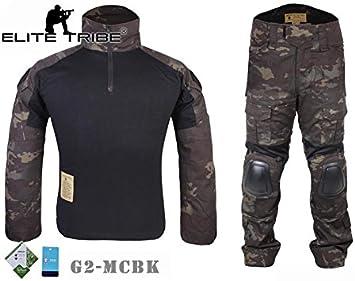 Airsoft caza táctico militar para Bdu combate G2 uniforme camiseta pantalones Multicam Negro: Amazon.es: Deportes y aire libre
