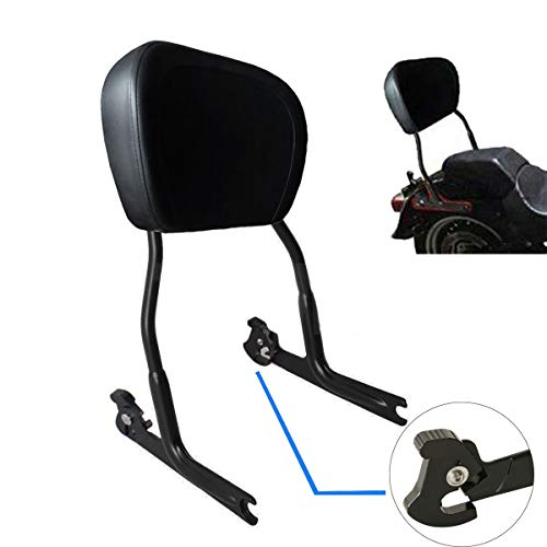 TTX Matte Black Quick Release Sissy Bar Upright Passenger Backrest With Leather Pad for Harley Davidson Softail Deluxe Fat Boy Night Train Springer FLST FXST FXSTB FXSTS FLSTN ()