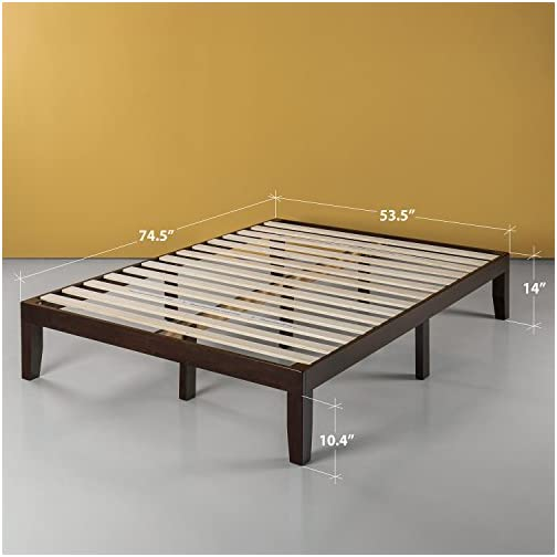 Zinus Moiz 14 Inch Wood Platform Bed / No Box Spring Needed / Wood Slat Support / Dark Brown, Twin