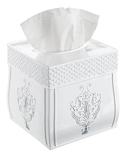 (Creative Scents Square Tissue Box Cover – Decorative Tissue Holder is Finished in Beautiful Vintage White, Bathroom Accessories)