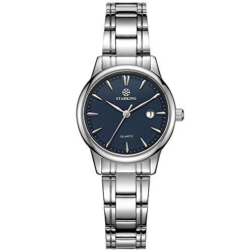 STARKING Women Japanese Quartz Stainless Steel Silver BL0972 Blue Face Date Analog Wrist Watch Waterproof (Date Large Watch)