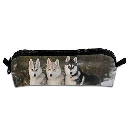 (FSXIK Sled Dog Siberian Husky Cute Cool Versatile Stylish Students Pencil Case Pen Pouch Work Office Craft Supplies Boys Girls)