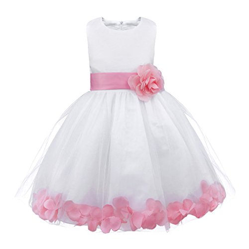 Freebily Toddler Girls Petals Tulle Bow Tutu Dress Princess Wedding Pageant Bridal Flower Girl Dress Pink White -