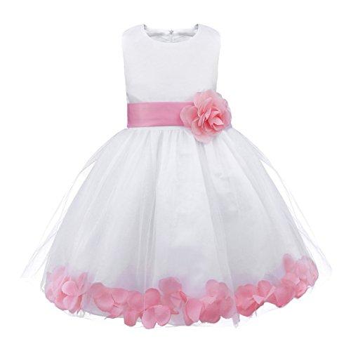 (Freebily Toddler Girls Petals Tulle Bow Tutu Dress Princess Wedding Pageant Bridal Flower Girl Dress Pink White 10)