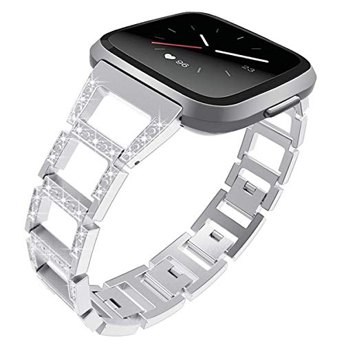 DBoer Watch Band Compatible with Fitbit Versa Smartwatch Band for Women Wristlet Strap Replacement Metal Band Bling Diamond Watch Band Chain Link Bracelet for Versa Wristband for Women Silver