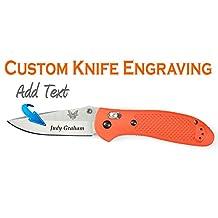 Customer Laser Engraved Benchmade Griptilian Mod Drop Point Orange Knife