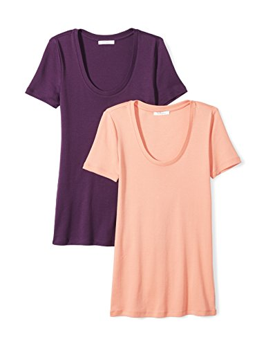 Neck Tee Womens (Daily Ritual Women's Midweight 100% Supima Cotton Rib Knit Short-Sleeve Scoop Neck T-Shirt, 2-Pack, L, Peach/Deep Purple)