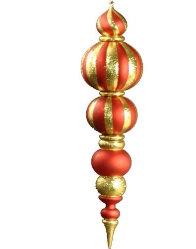 Queens of Christmas WL-FIN-48-RE/GO Plastic Oversized Shatterproof Finial Decorative Ornament, 48'', Red/Gold