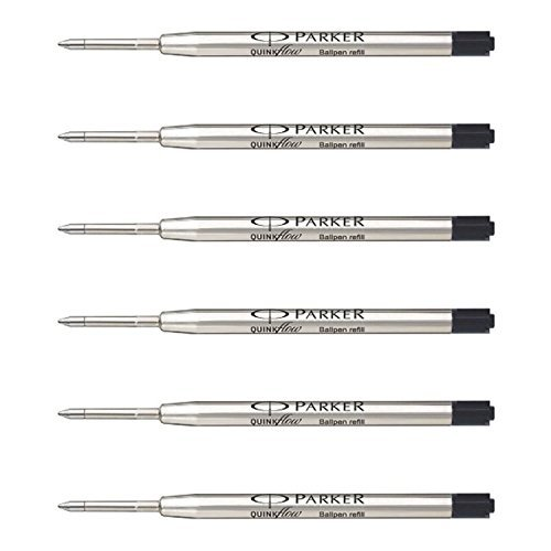 Parker QuinkFlow Ink Refill for Ballpoint Pens, Medium Point, Black Pack of 6 Refills (1782469)