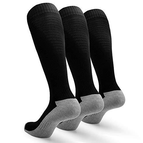 - Petrala Black Soccer Socks Men Non Slip Cushioned Knee High Over the Calf Team Sock for Adult Athletic 3 Pack