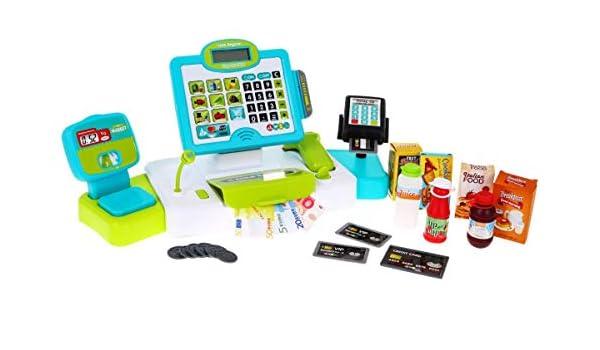 BSD Juego de Imitación - Caja Registradora para Niñoa, Caja Registradora Electrónica de Juguete, Caja de Supermercado con Pantalla Táctil, Escáner y Accesorios - Azul/Verde: Amazon.es: Juguetes y juegos