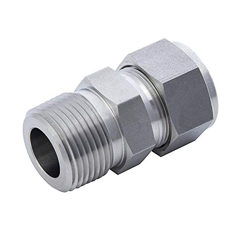 Double Ferrule Compression Fittings Tube Connector Adapter Joint 316L Stainless Steel 1//4 NPT Male x 1//4 Tube OD(MC02-2N