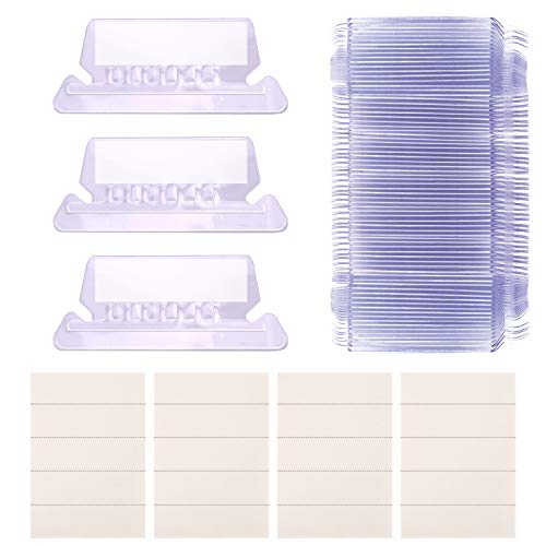 AIEX Hanging File Tabs and Inserts Clear File Folder Labels Filing Tabs for File Identification, Easy to Read(2 inch, 50 White Inserts+50 Plastic - Folder File Labels