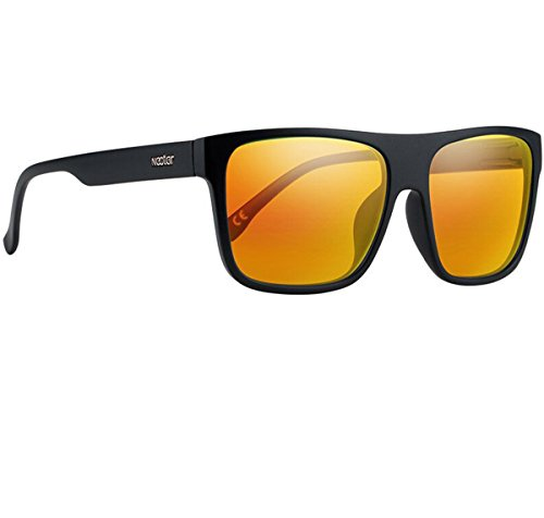NECTAR Wide Flat Top Sunglasses with EuphoricHD Polarized Lenses and UV Protection (Matte Black Frames / Orange Mirror EuphoricHD Polarized - Nectar Sunglasses Amazon