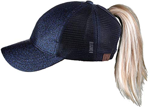 H-209-31 Messy Bun Ponytail Hat - Glitter (Midnight