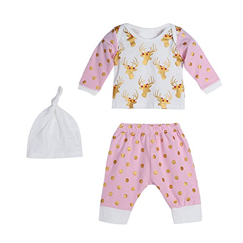 Diamondo 3pcs Baby Infant Toddlers Deer Print Long Sleeve Tops Pants Hat Outfit Set (Age(Month): 12-18M) ()