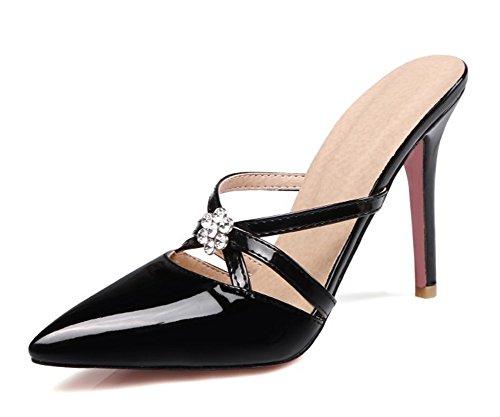 Mode Talon Aiguille Easemax Noir Femme Mules Strass 5gxTnZ7q