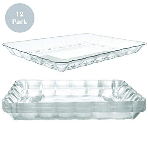Catering Serving Trays - Plastic Serving Trays - Serving Platters | 12 Pack, 9