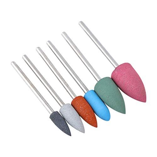 AHAYAKU Nail Art Silicone Grinding Drill Bits Electric Nail Diamond Bullet Bit 6PCS