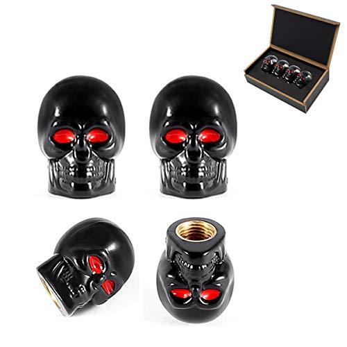 Dsycar Black Skull Style Antirust Copper Core Motorcycle Bike Car Tires Valve Stem Caps, 4Pcs/Box (Only Skull Caps Valve)