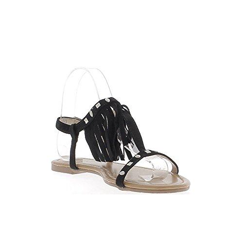 Sandales spartiates noires aspect daim avec fines brides frange et clous