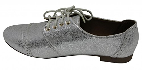 Anna Mandy-3 Womens Dress Flat Lace Up Metallizzato Pelle Scarpe Mocassini Oxford Scarpe Argento